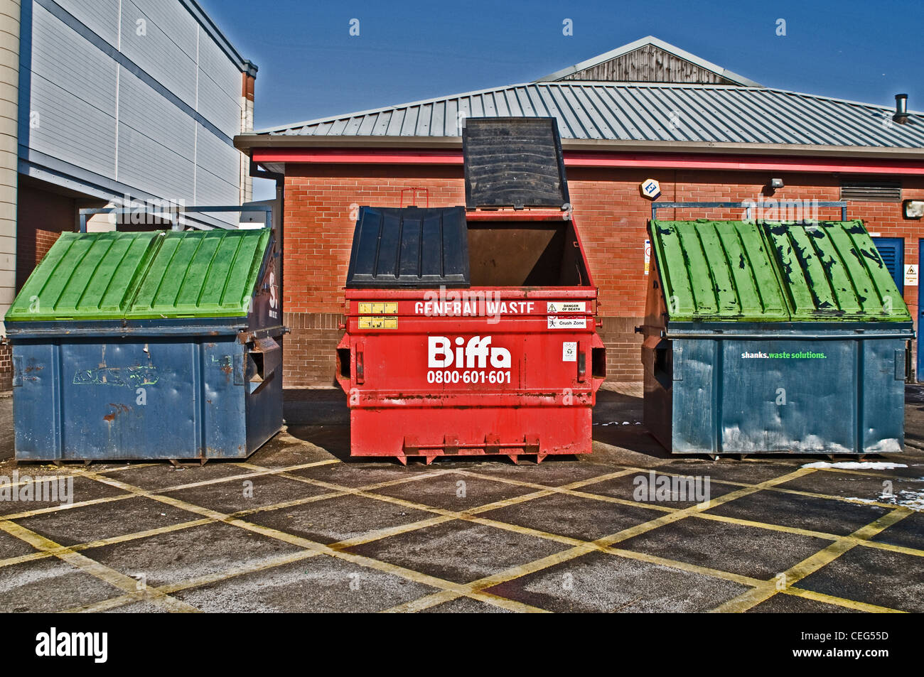 A 'Biffa' waste disposable skip, UK - Stock Image