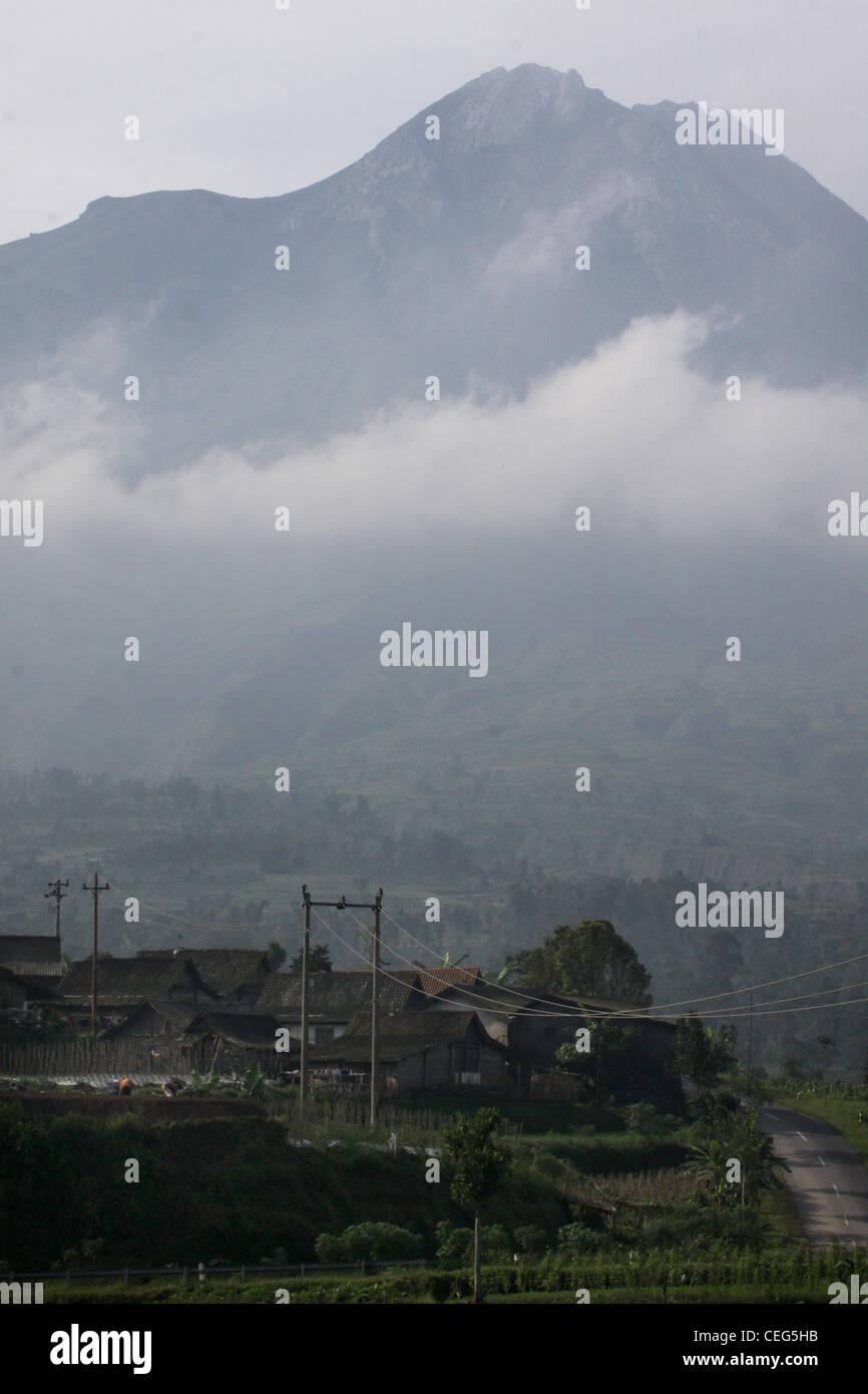 Village road Mount Merapi Yogyakarta Indonesia - Stock Image