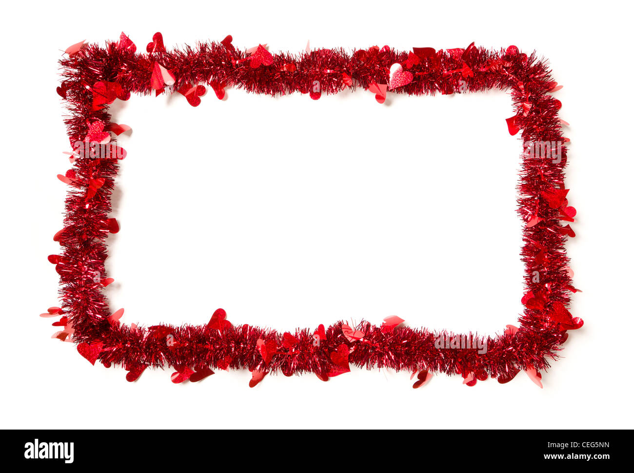 Red Tinsel with Hearts Border Frame Shape on a White Background Ready For Your Own Message. - Stock Image