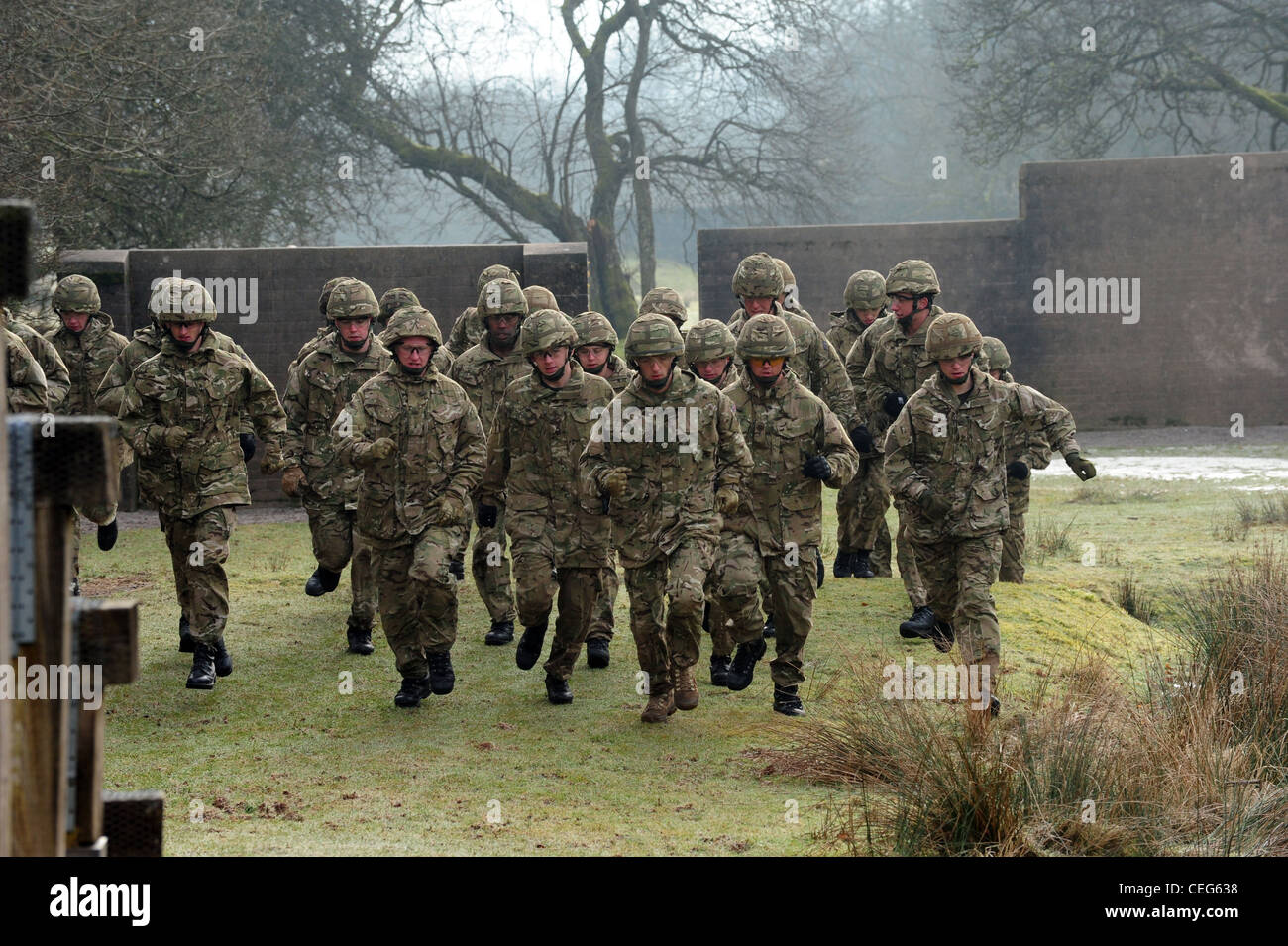 Members from The Prince of Wales' Company, 1st Battalion Welsh Guards, going over the assault course February - Stock Image