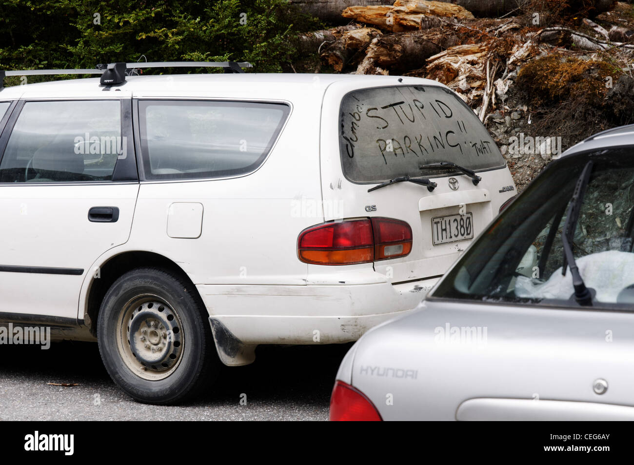 A badly parked car with the words 'dumbo' 'twat' and 'stupid parking' written on the dirty - Stock Image