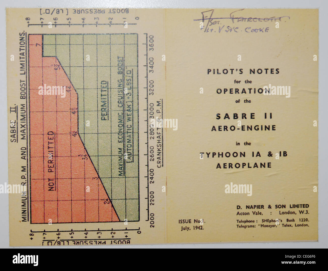 Pilots notes for the operation of the Sabre aero engine - technical notes for pilots flying the second world war - Stock Image