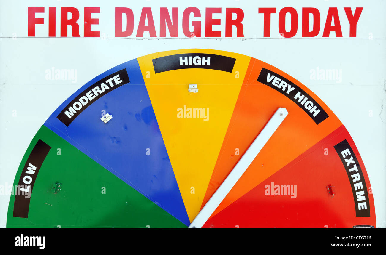 A Fire Danger sign set to very high - Stock Image