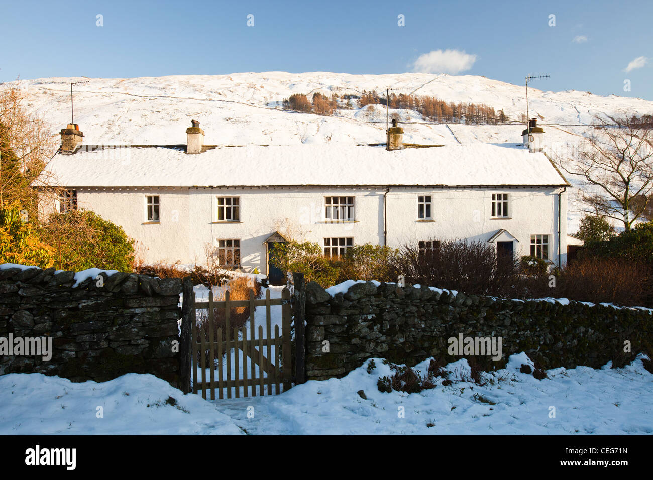 Old cottages in Troutbeck village in the Lake District, UK. - Stock Image