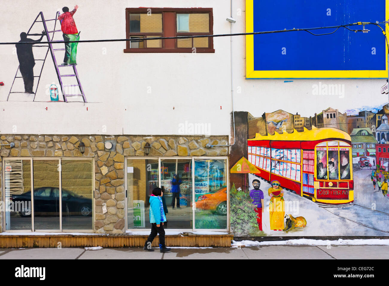 Colorful mural on the street in downtown, Toronto, Canada - Stock Image