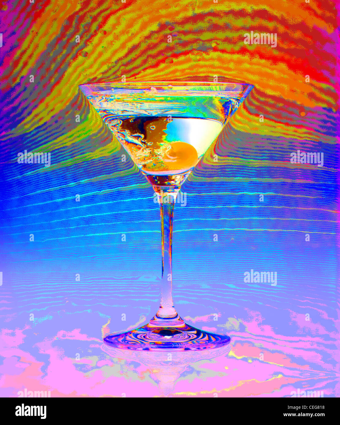 Martini still life with psychedelic colors - Stock Image