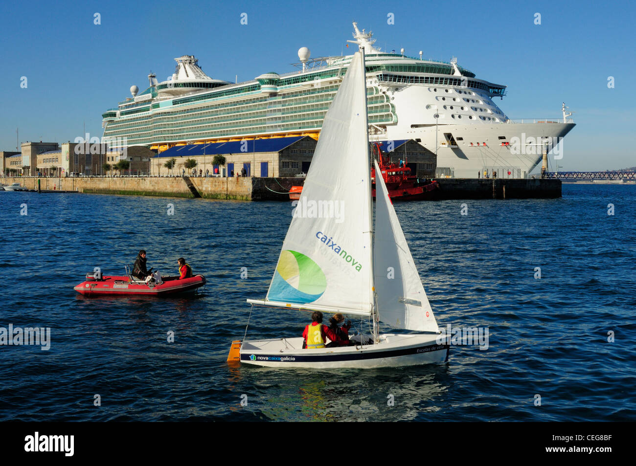 The Independence of the Seas cruise liner tied to the docks in Vigo, Galicia, Spain - Stock Image