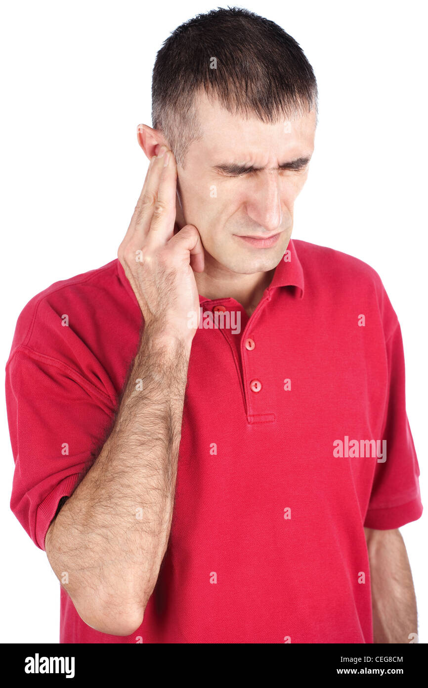Man have a strong pain in ear, isolate on white background - Stock Image