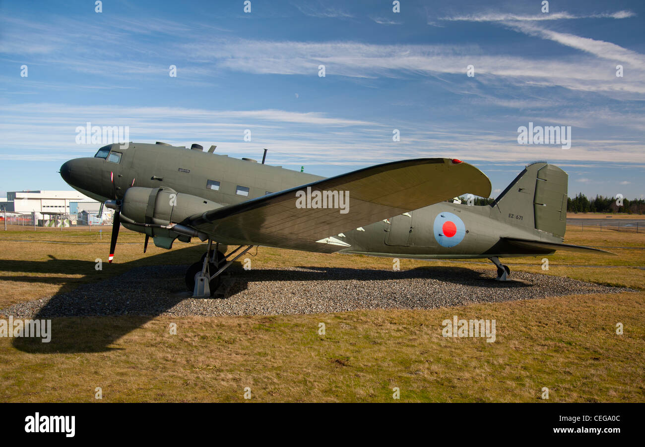 Douglas DC3 Dakota of the Royal Canadian Air Force, Comox Air Base Museum. Vancouver Island,  BC. Canada.  SCO 7986 - Stock Image