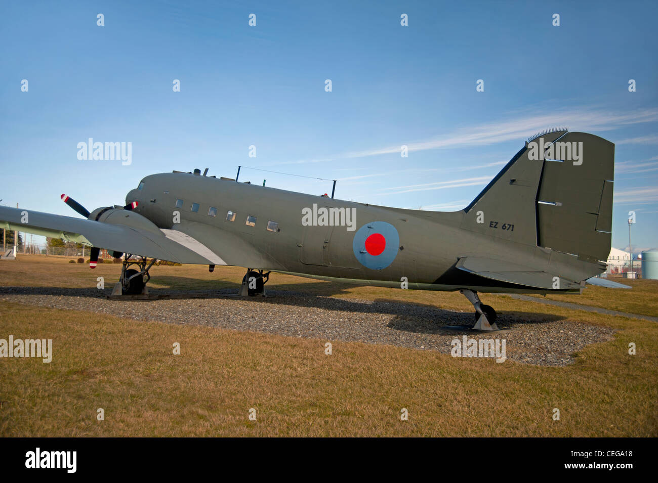 Douglas DC3 Dakota of the Royal Canadian Air Force, Comox Air Base Museum. Vancouver Island,  BC. Canada.   SCO - Stock Image