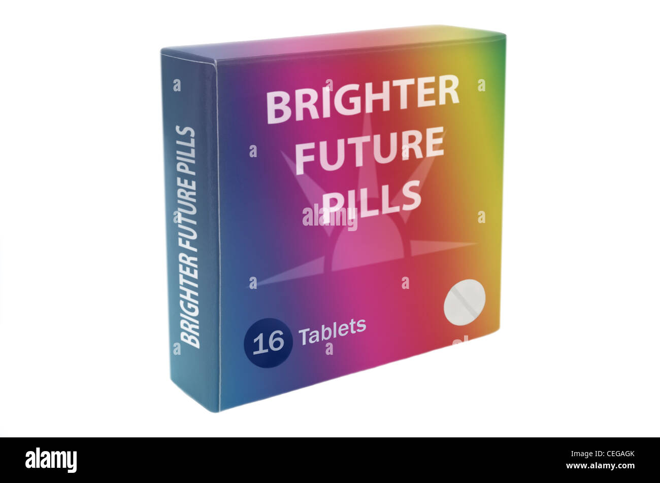 "Close and low level angle capturing a multicoloured medication pack with the words ""Brighter Future Pills"" arranged Stock Photo"