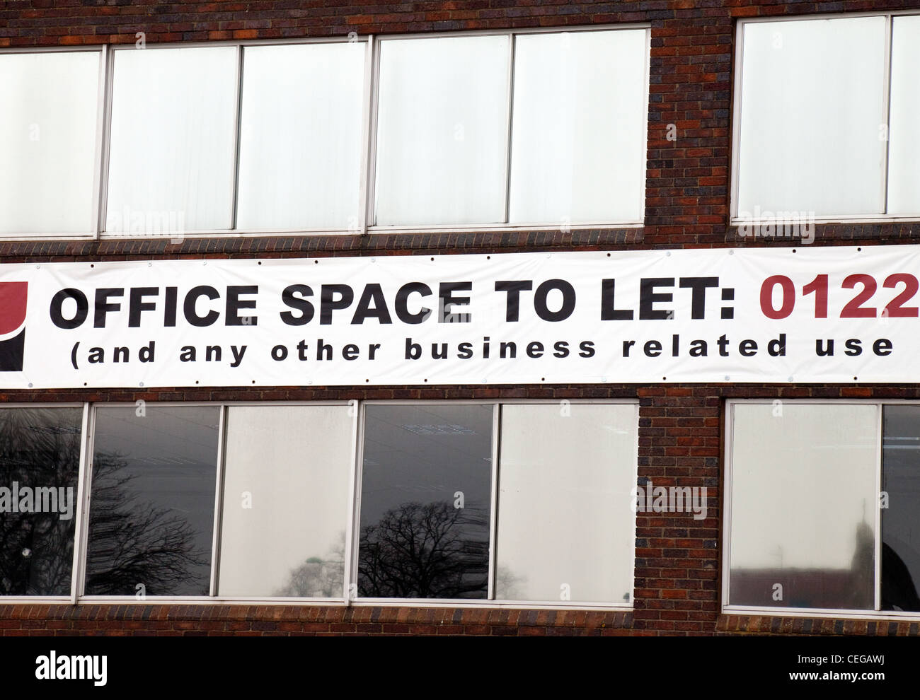 Office space to let sign, UK - Stock Image