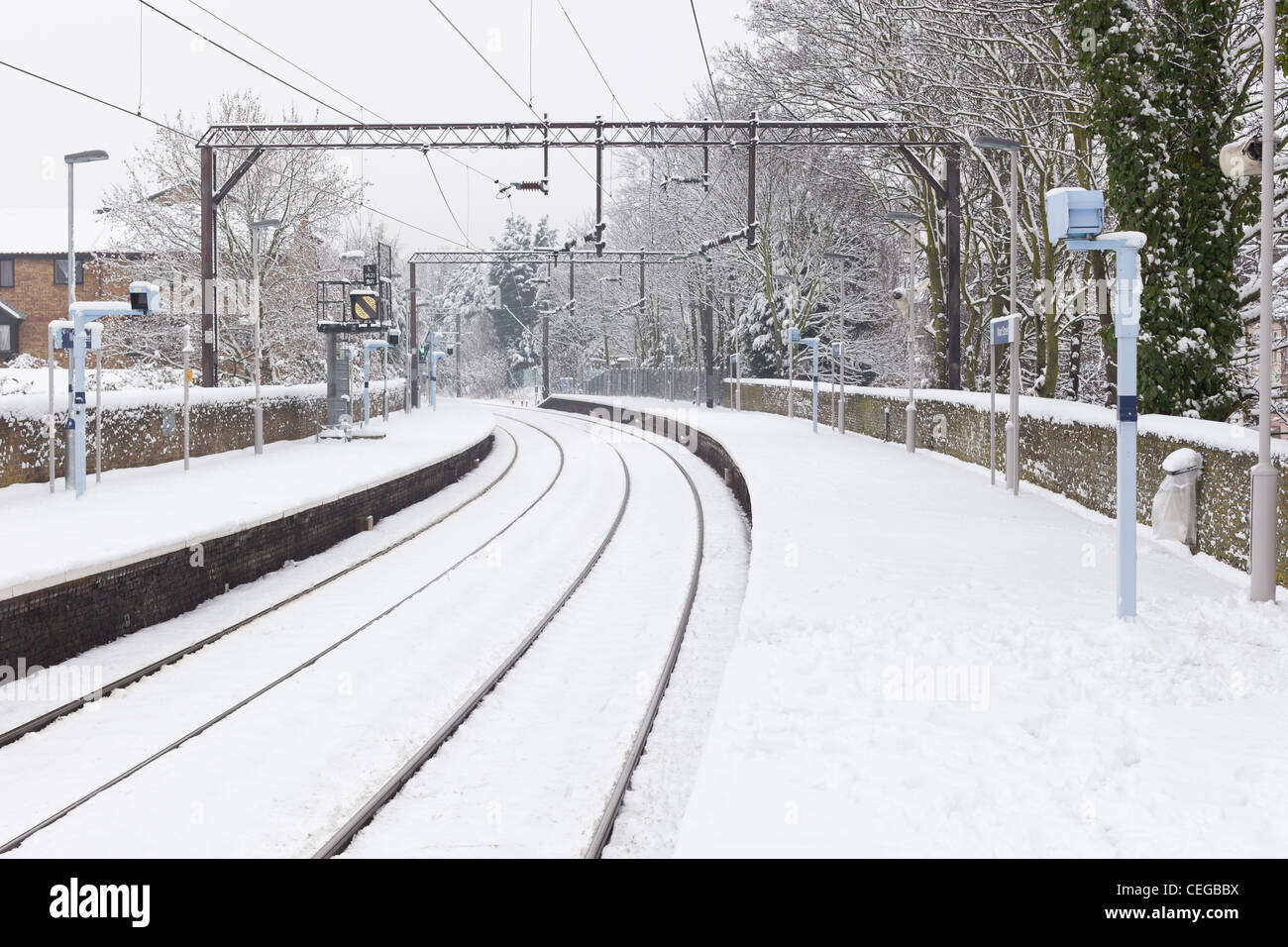 Railway lines with snow, UK - Stock Image
