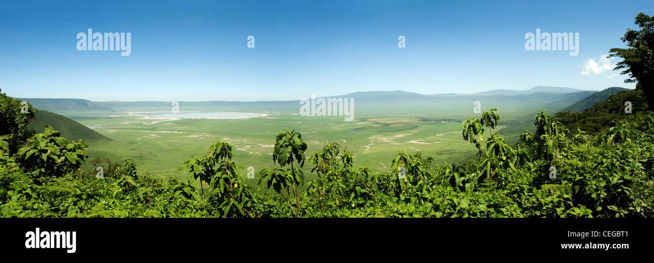 Ngorongoro Crater, panoramic view from the crater rim, Arusha Region, Tanzania - Stock Image