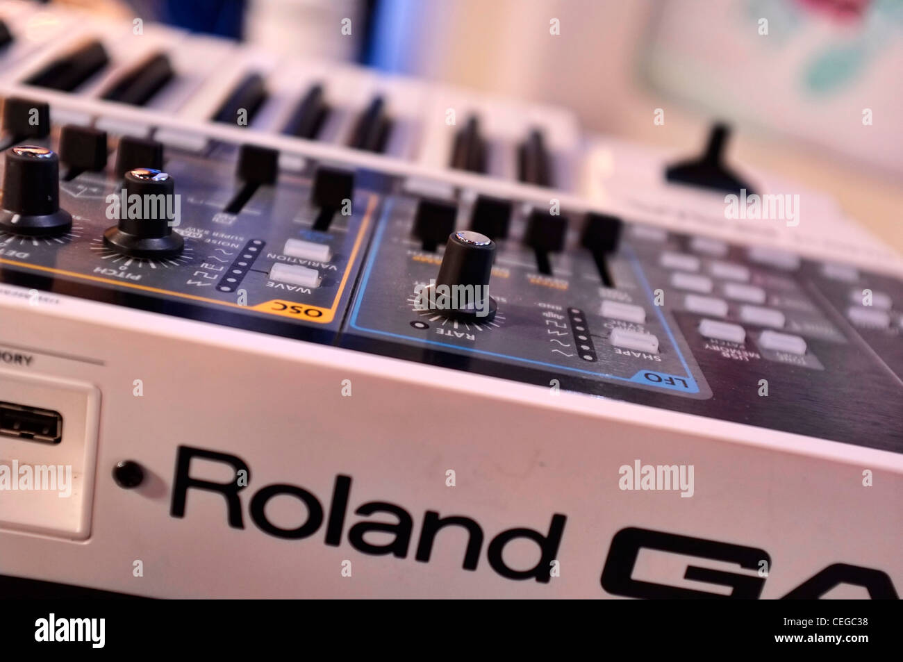 Close-up of a Roland Synthesizer - Stock Image