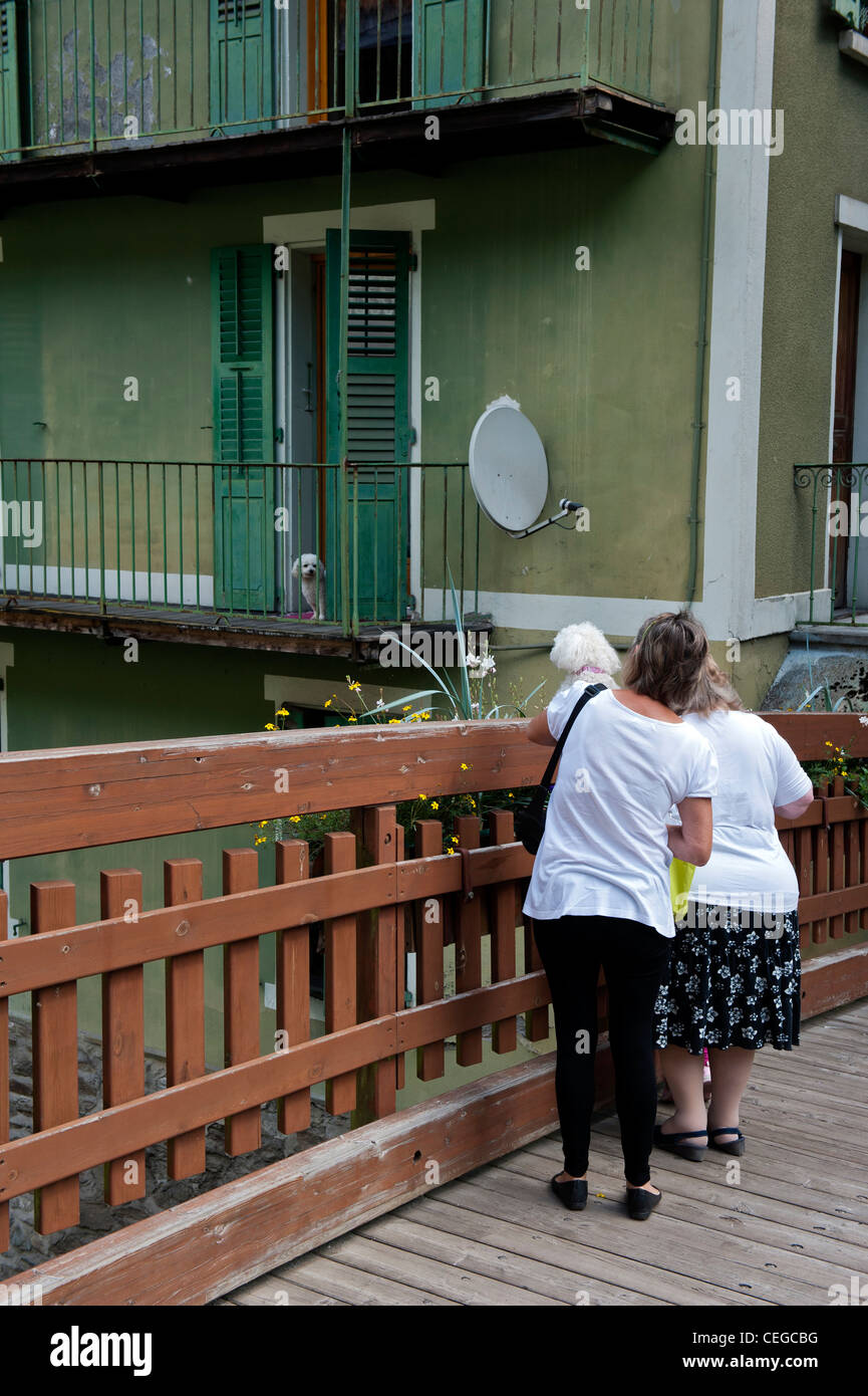 Apartment with a white poodle dog on the balcony in the village of Beaufort. Savoie department Rhone-Alpes region - Stock Image