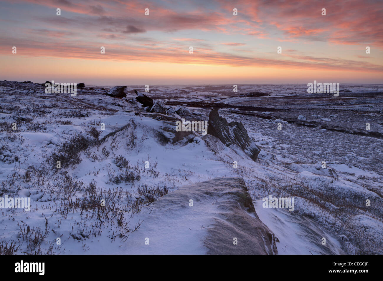 A crisp winter sunrise over Nidderdale as seen from High Crag Ridge near Pateley Bridge and Glasshouses in Yorkshire, - Stock Image