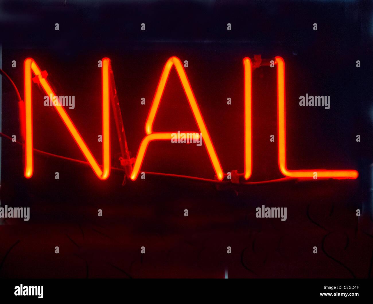 neon nail sign Stock Photo: 43387471 - Alamy