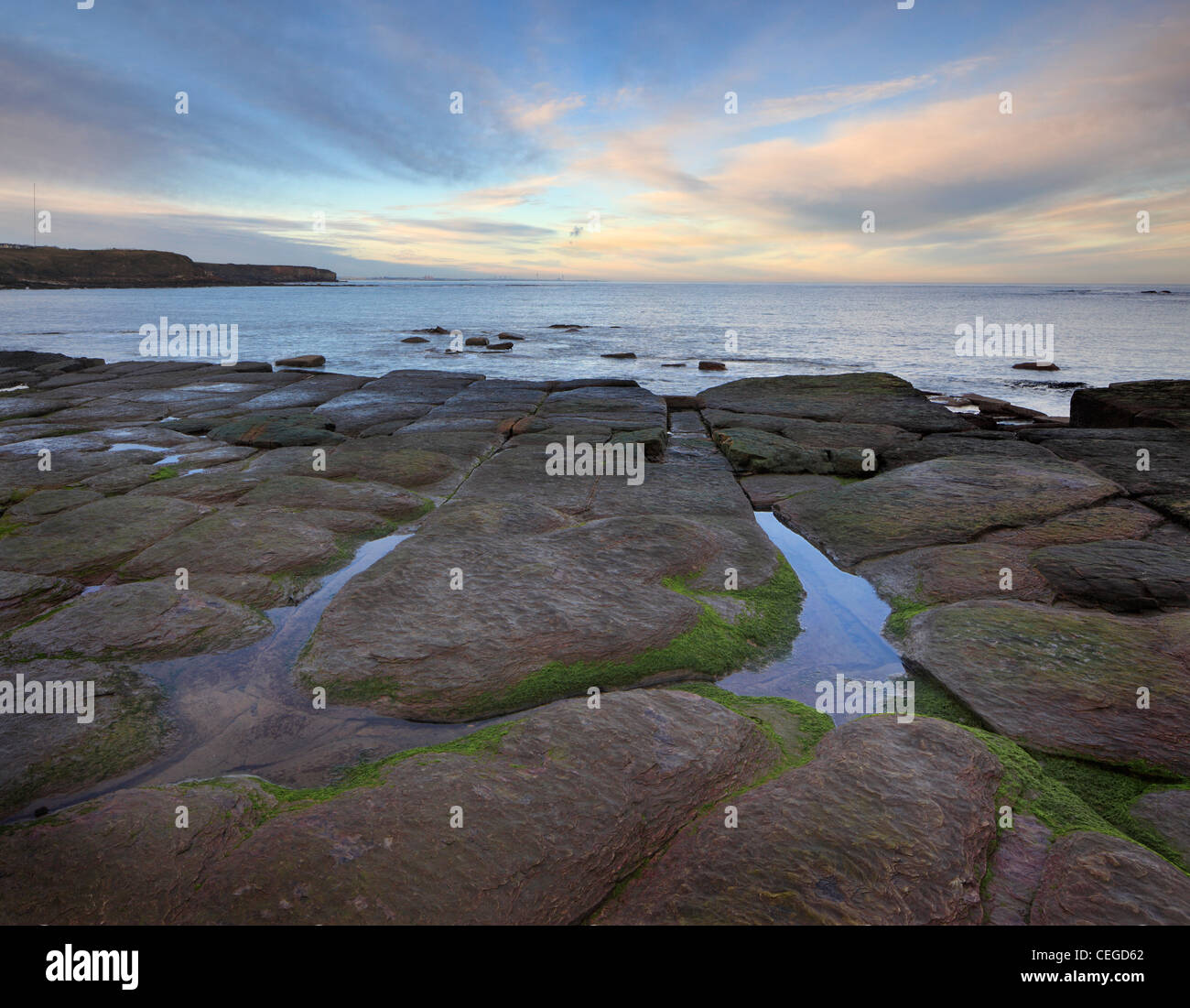 Dusk over Whitley Bay North Tyneside, Tyne and Wear, Northumberland, England - Stock Image