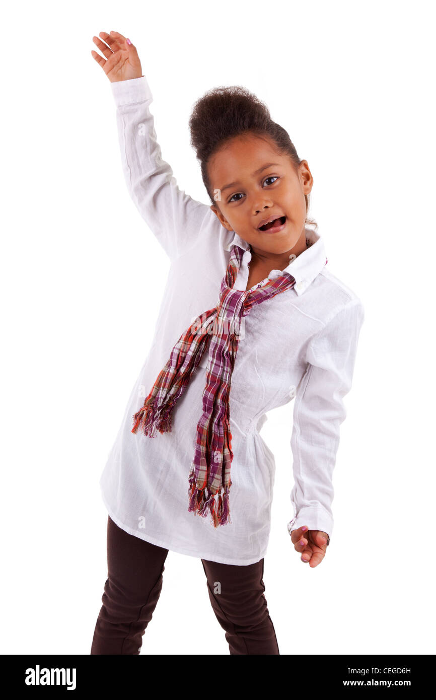 Cute little African Asian girl, over white background - Stock Image