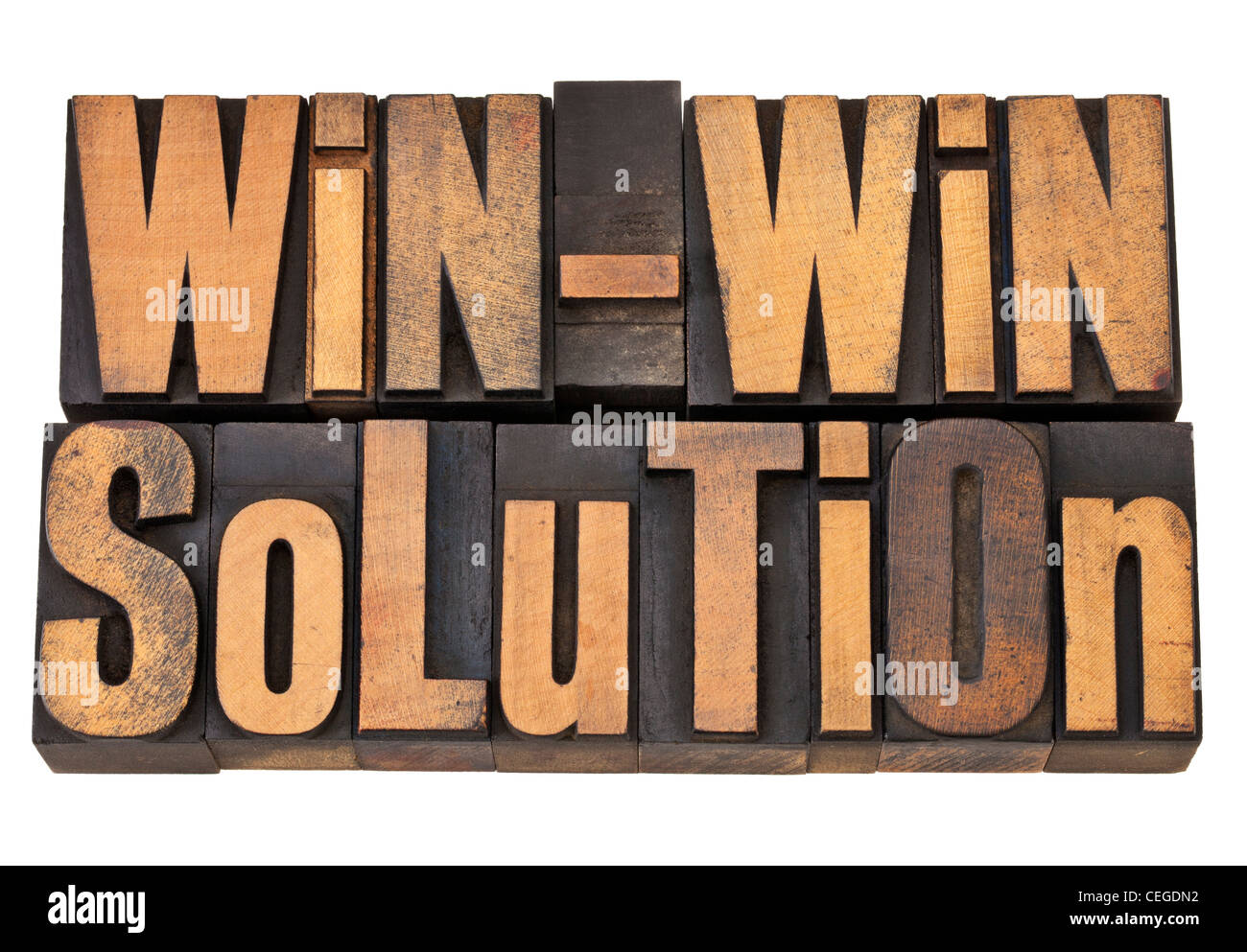 win-win solution - negotiation or conflict resolution concept - isolated words in vintage wood type - Stock Image