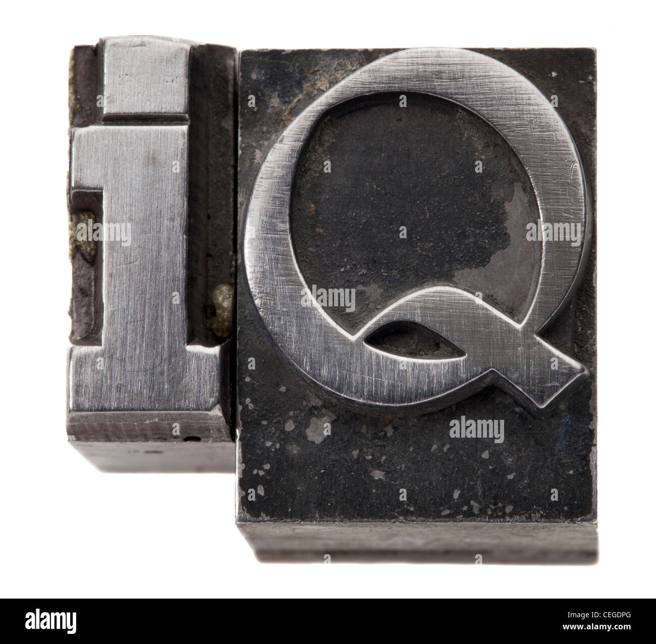 Intelligence quotient - IQ acronym - isolated symbol in vintage grunge metal type - Stock Image