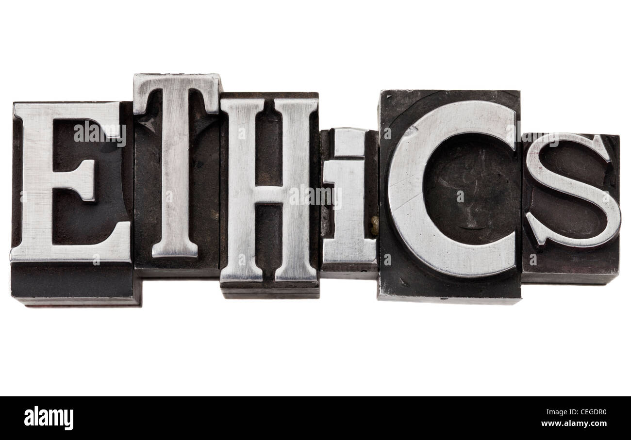 ethics - isolated word in vintage grunge metal type - Stock Image