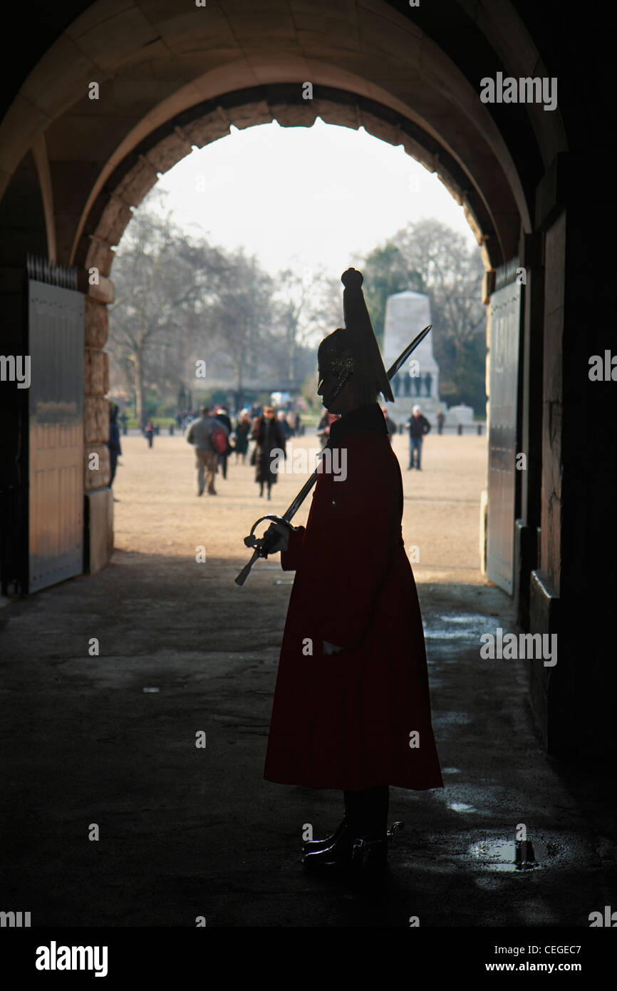 Ceremonial sentry at Horse Guards Arch, London. - Stock Image