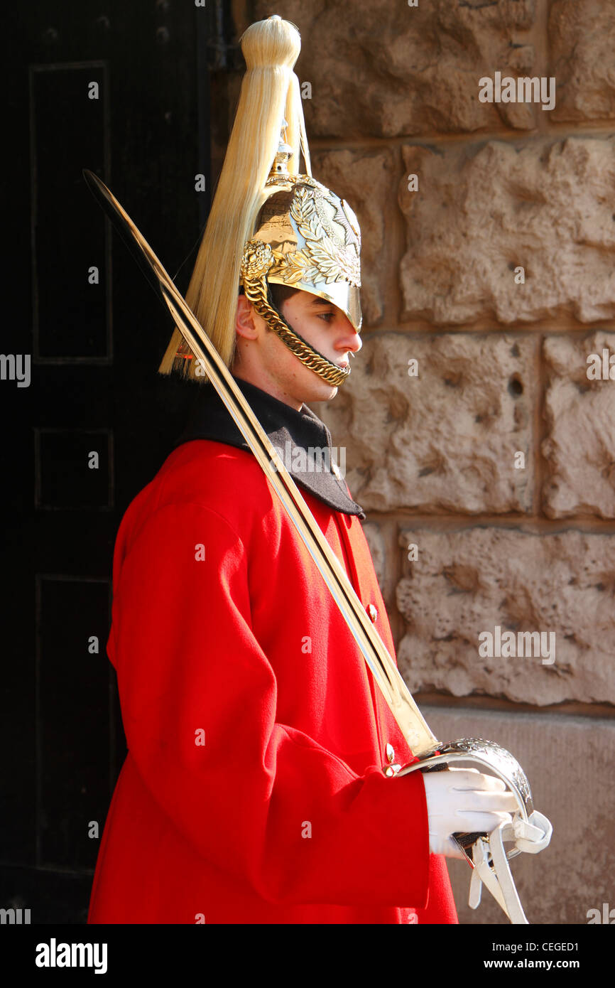 Ceremonial sentry of the Queen's Life Guard at Horse Guards Arch, London, UK Stock Photo