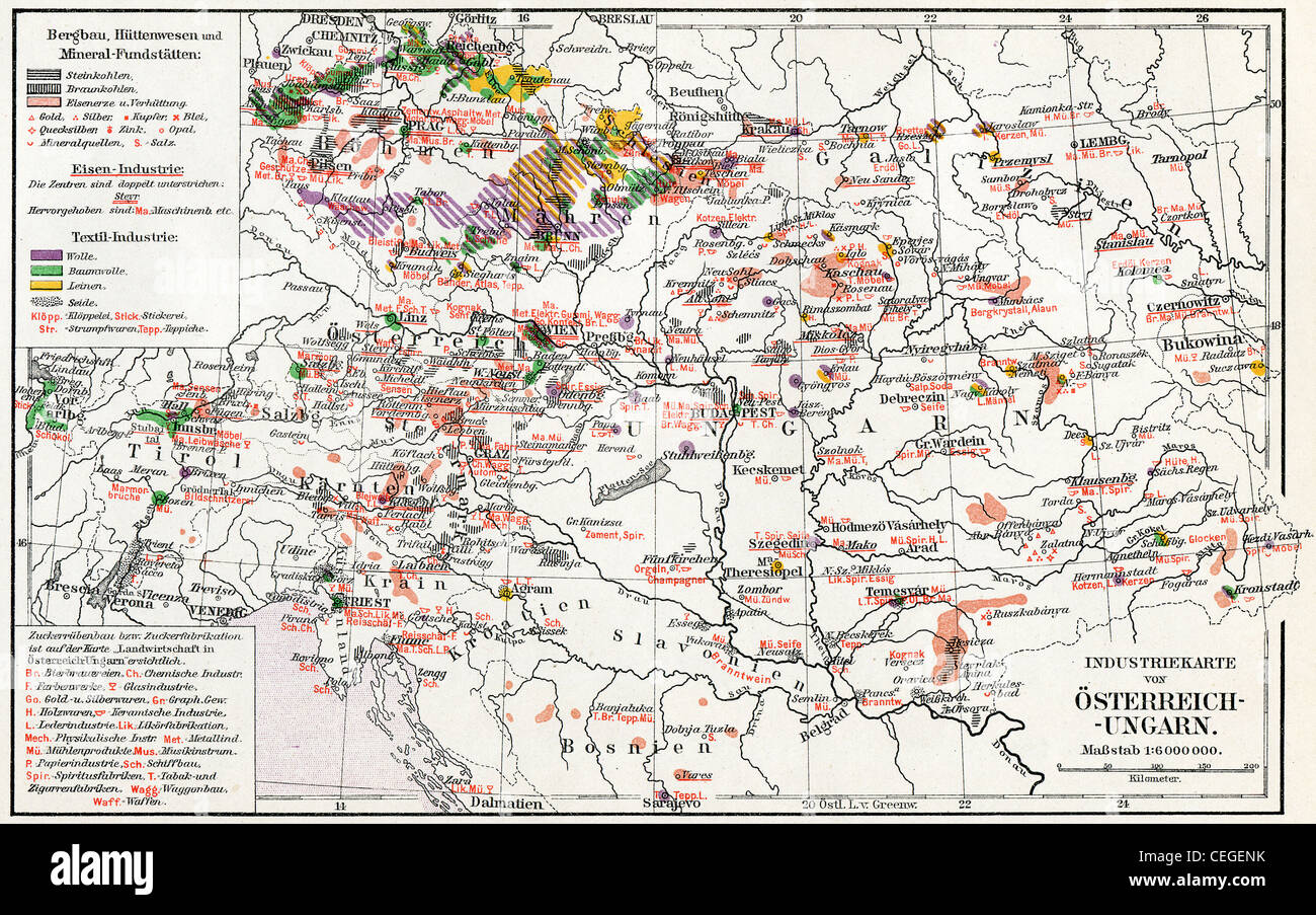 The industrial map of Austro-Hungarian monarchy. - Stock Image