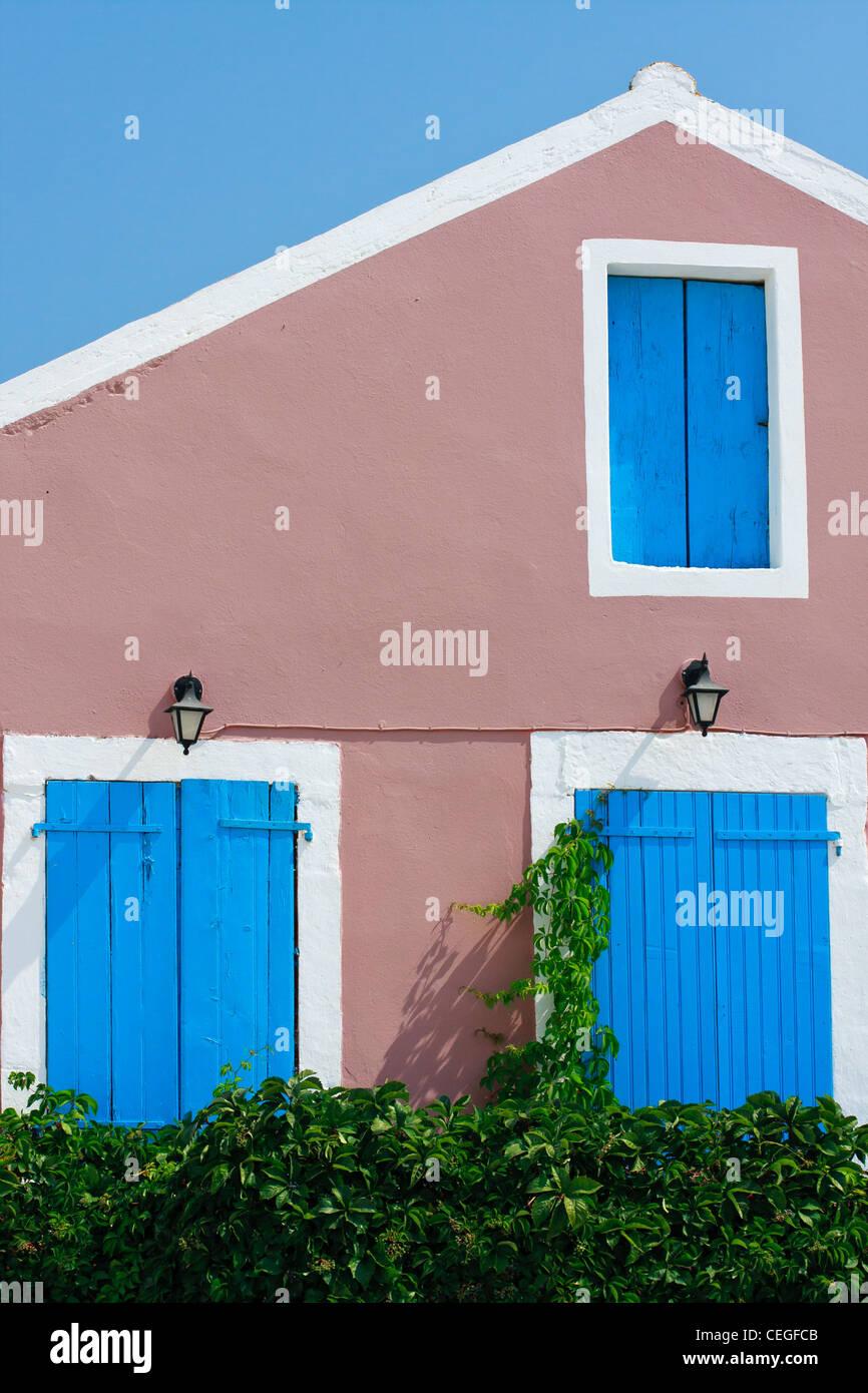 White Greek House Blue Windows Stock Photos & White Greek House Blue ...