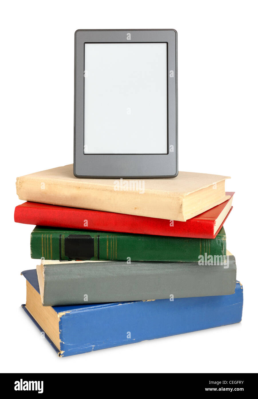 Ebook on pile of old books isolated on white background - Stock Image