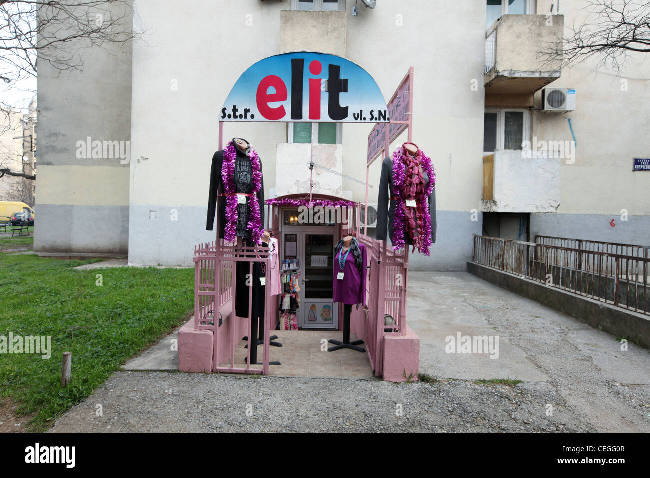 Exterior of a clothes shop in the neighbourhood, Podgorica, Montenegro - Stock Image