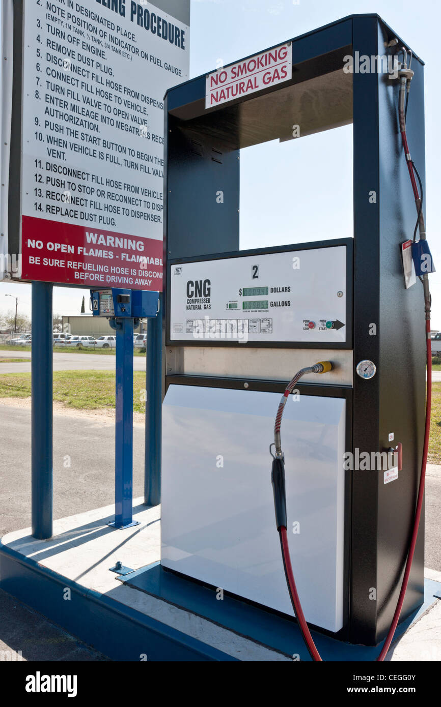 Compressed natural gas service station, fuel pump. - Stock Image