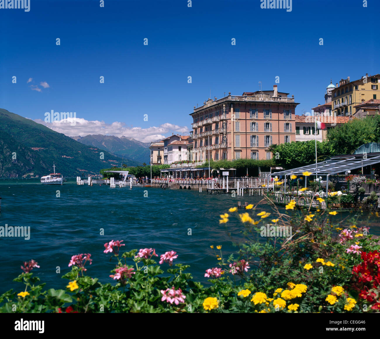 The Hotel Metropole at Bellagio and Lake Como, Lombardy, Italy. - Stock Image