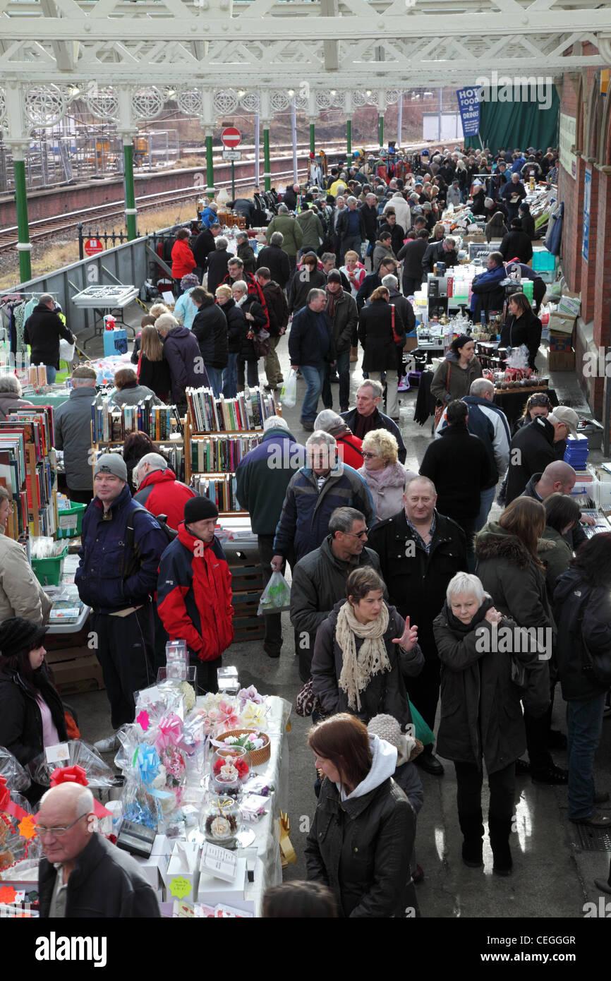 Flea market within Tynemouth railway station north east England UK - Stock Image