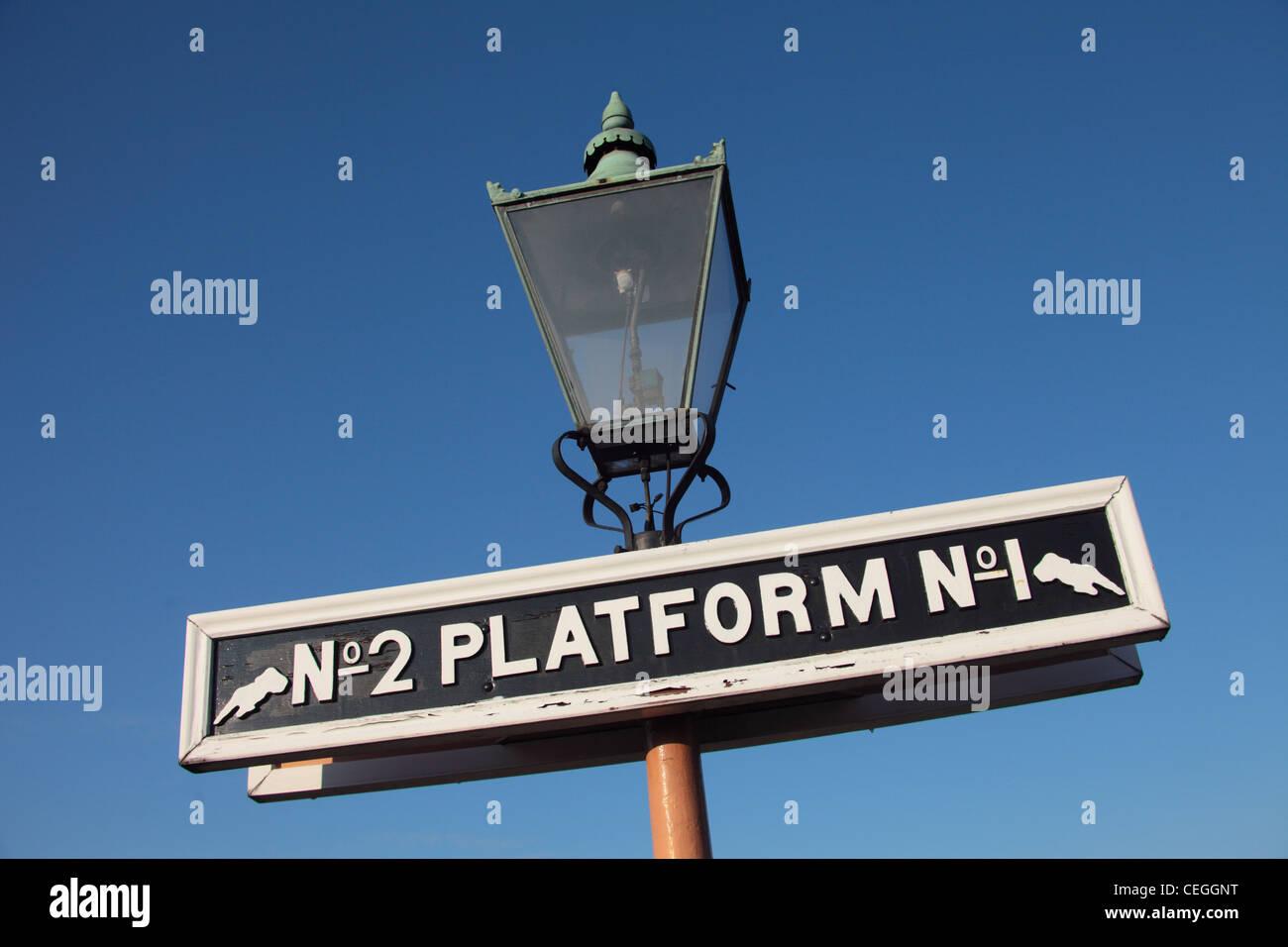 Old fashioned platform sign on Kidderminster Station Severn Valley Railway UK - Stock Image