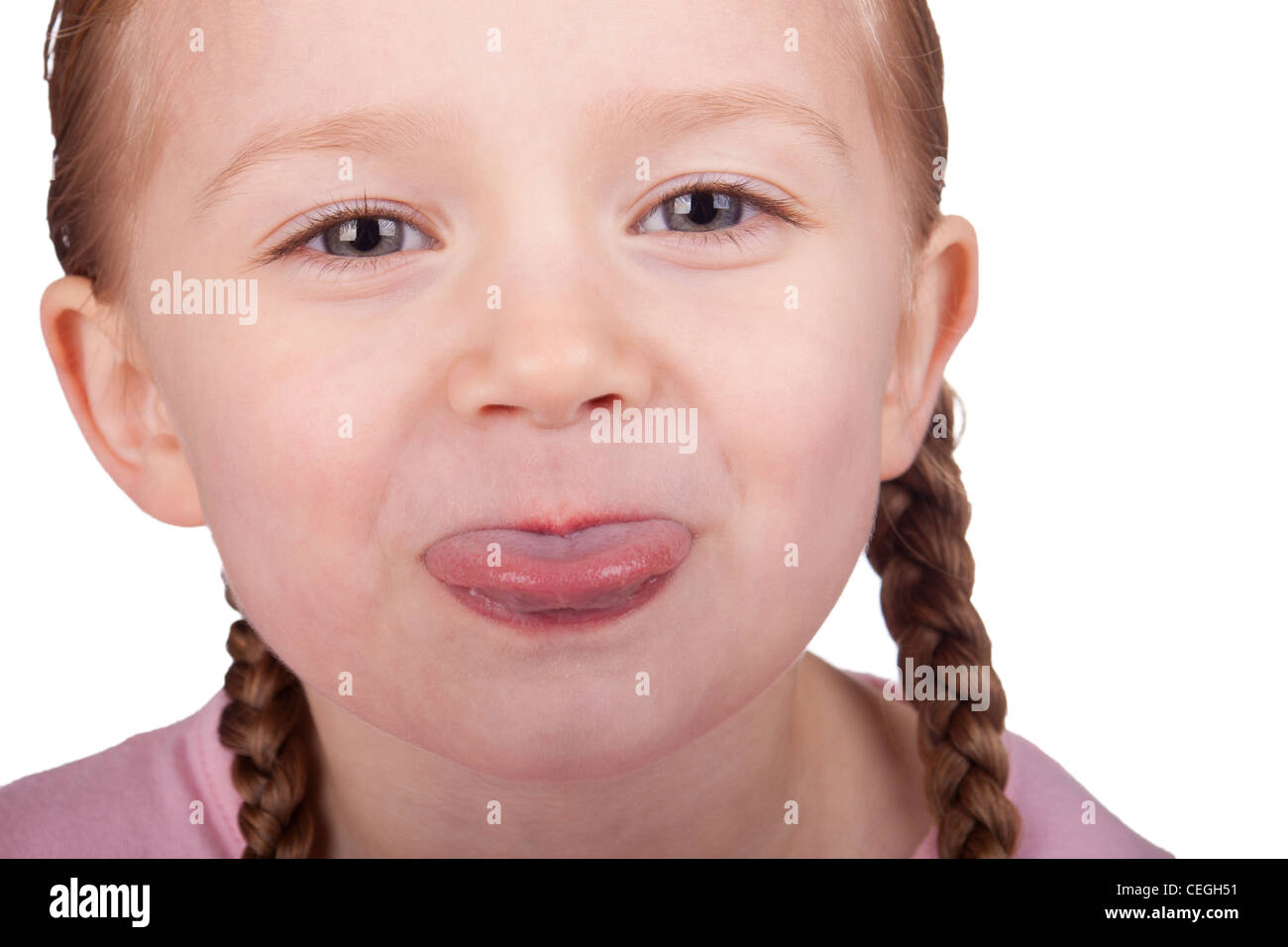 Macro image of a girl sticking her tongue out Stock Photo