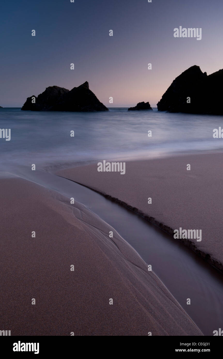 Twilight at Soar Mill Cove, South Devon. - Stock Image