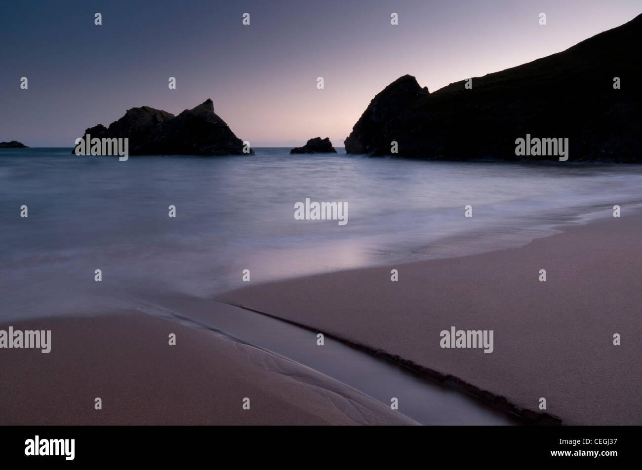 Twilight at Soar Mill Cove, South Devon. - Stock Image
