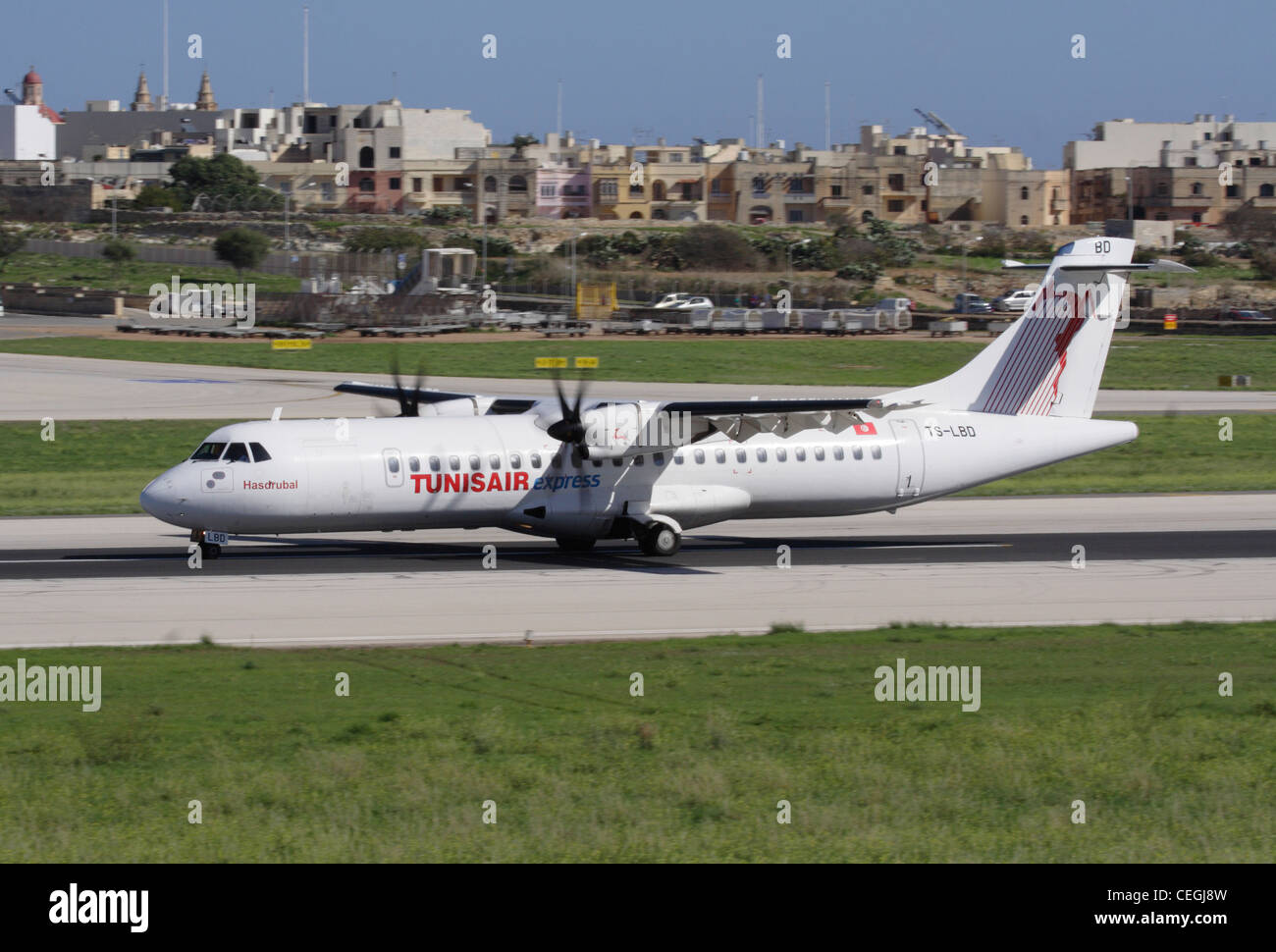 Short haul air travel. Tunisair Express ATR 72-500 turboprop regional airliner - Stock Image