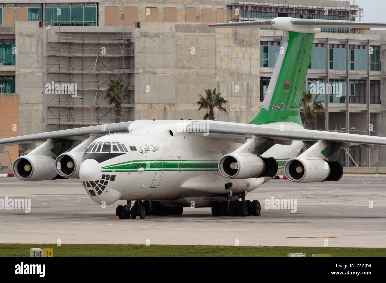 Libyan Air Cargo Ilyushin Il-76TD bearing the country's post-revolution flag - Stock Image