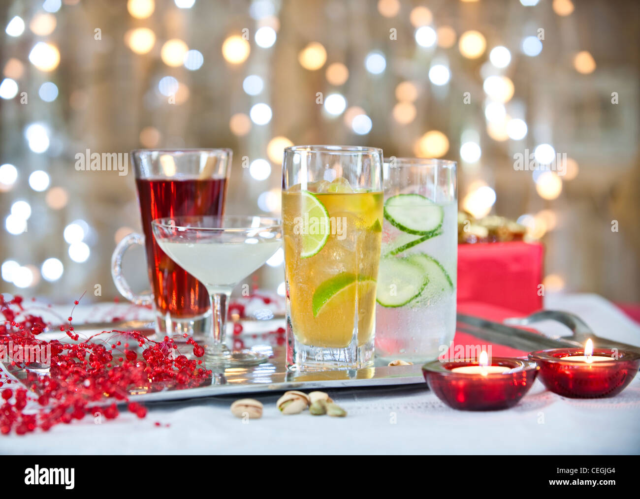 Christmas Cocktail Drinks 2 - Stock Image