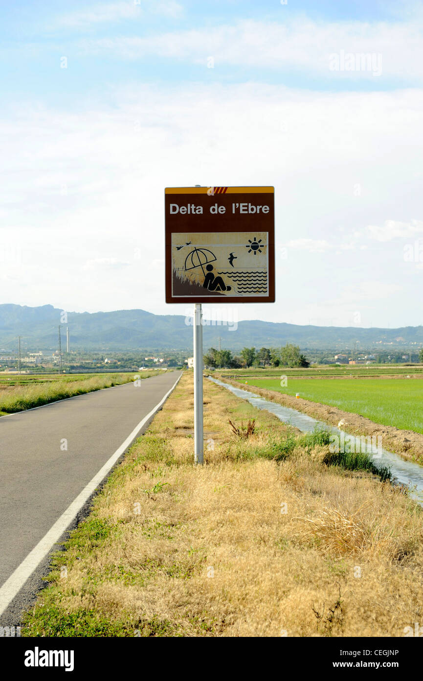 Delta del Ebro National Park sign showing birdwatching and sunbathing Stock Photo