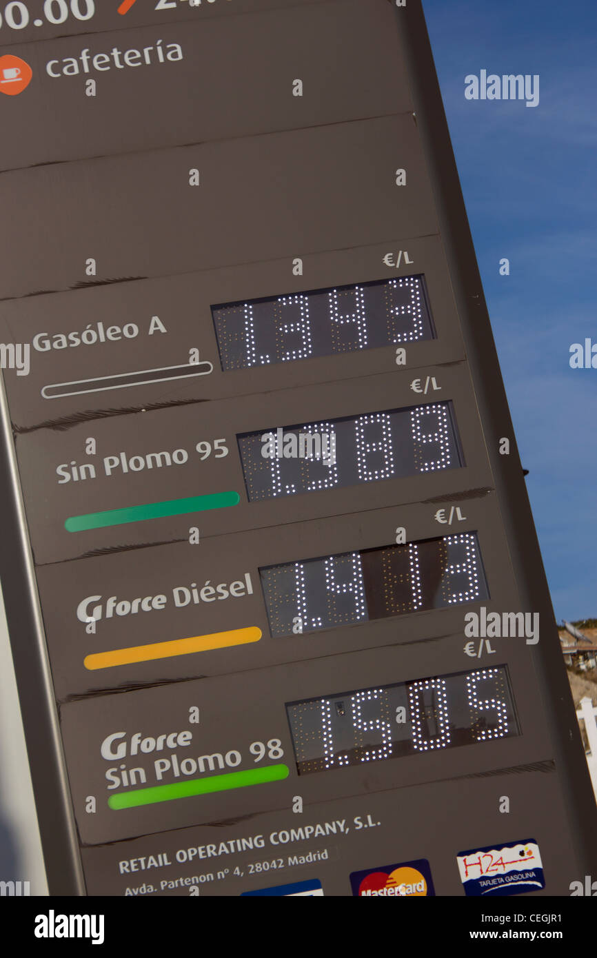 Petrol and diesel prices on display at Spanish petrol station. - Stock Image