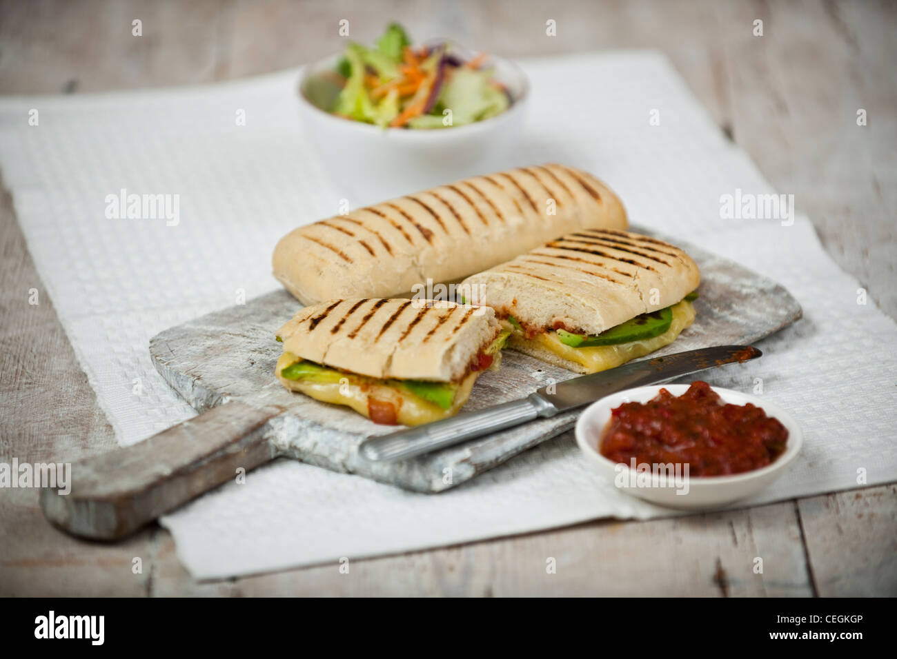 Toasted cheese and avocado panini - Stock Image