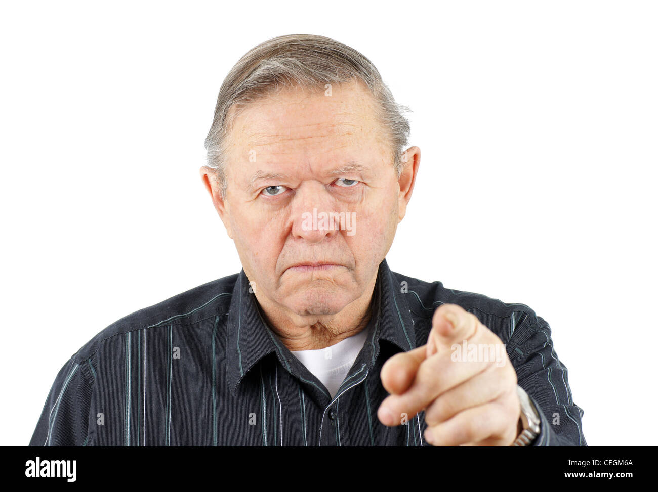Grumpy Angry Senior Or Old Man Pointing His Finger At The Camera
