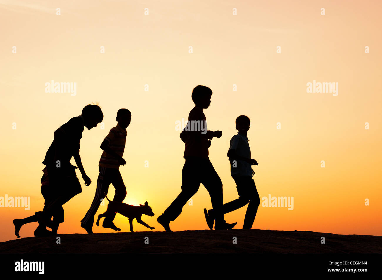 Silhouette of young Indian boys running and playing with a puppy. India - Stock Image