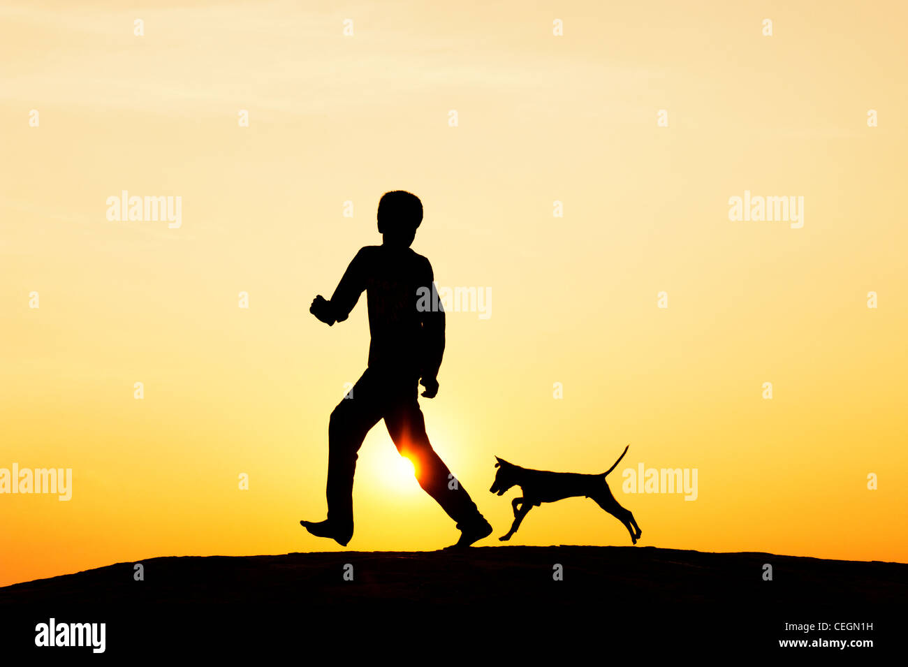 Silhouette of young Indian boy running and playing with his puppy. India - Stock Image