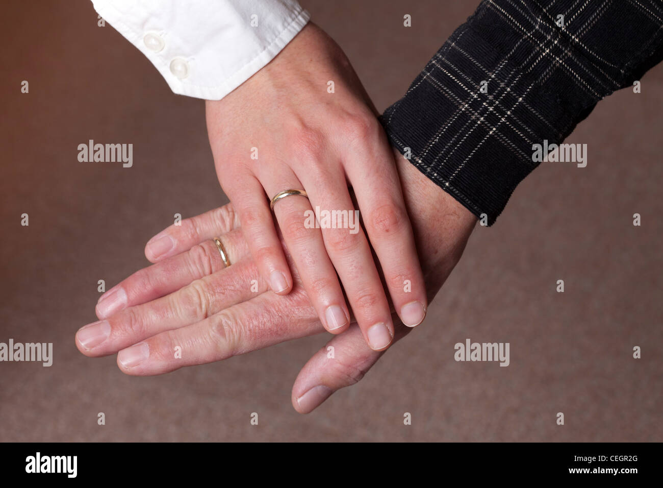 Old and young getting married - Stock Image